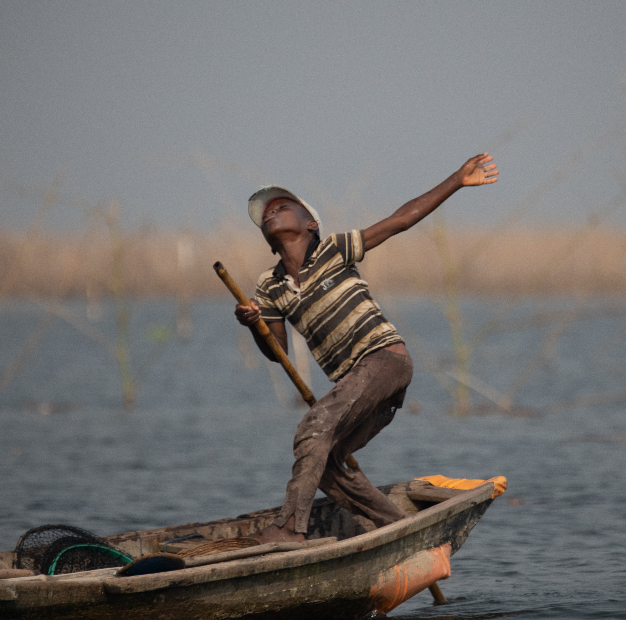 Exercising Fisherman, Ganvie, Benin