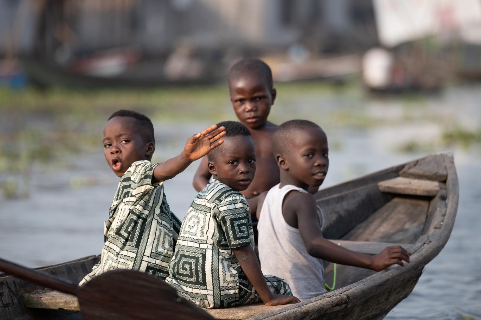 Village Boys, Ganvie, Benin